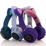 Беспроводные наушники с ушками и подсветкой Cat Ear BT-028C (Bluetooth, FM, MP3, AUX, Mic)