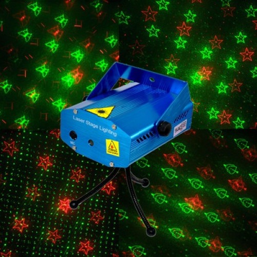 Лазерная светомузыка Mini Laser Stage Lighting, 2 цвета, картинки, рисунки