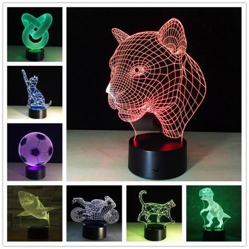 Настольный 3D ночник с выбором цвета New Idea 3D Desk Lamp