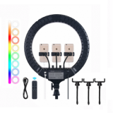 Кольцевая лампа для фото и видео съемки Ring Light RL-18 RGB (45 см, цветная) со штативом 2м