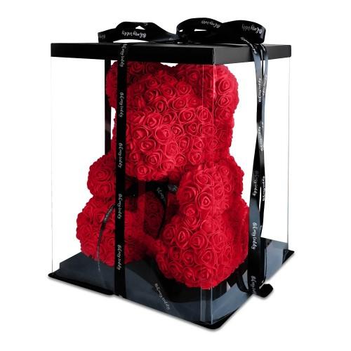 Мишка из роз 40 см, в прозрачной коробке