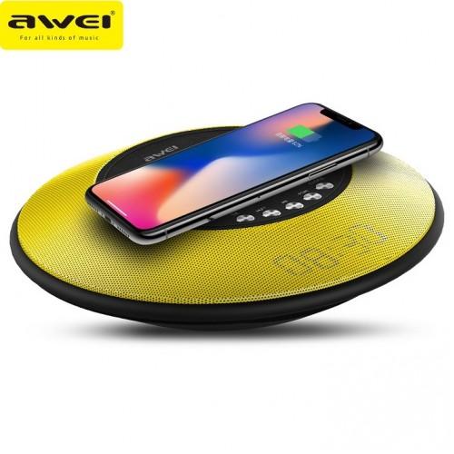 Колонка с функцией беспроводной зарядки и часами Awei Y290 (Bluetooth, MP3, AUX, FM, Mic, часы, БЗУ)