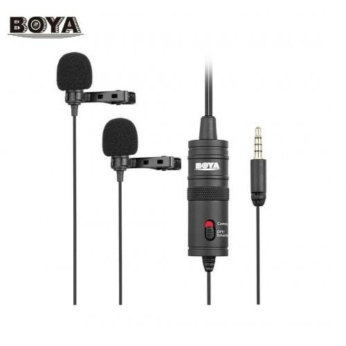 Двойной петличный универсальный микрофон со стерео разъем для камеры Boya BY-M1DM
