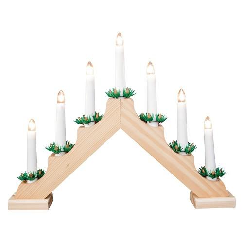 Традиционный скандинавский светильник Рождественская горка 7 Candle Arch Wooden