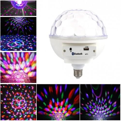 Светодиодный дискошар в патрон E27 LED Crystal Magic Lamp MP3, Bluetooth, 6 цветов