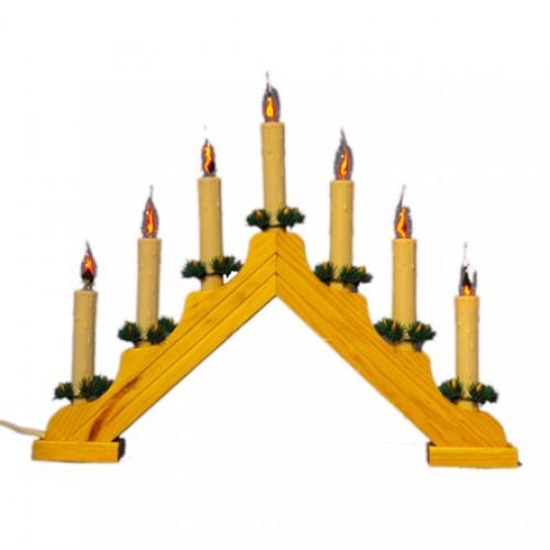 Традиционный скандинавский светильник с мерцающим пламенем Рождественская горка 7 Candle Arch Wooden