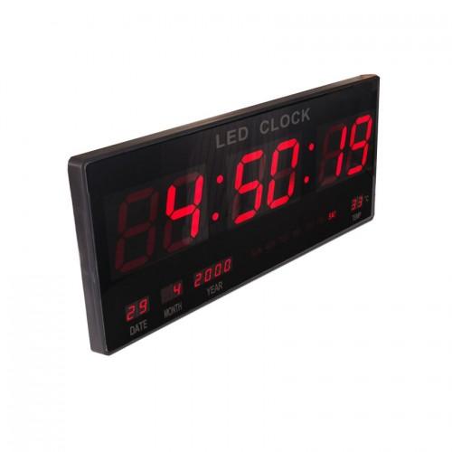 Электронные светодиодные настенные часы размером 46х22 см (ЧЧ, ММ, СС + календарь, термометр)