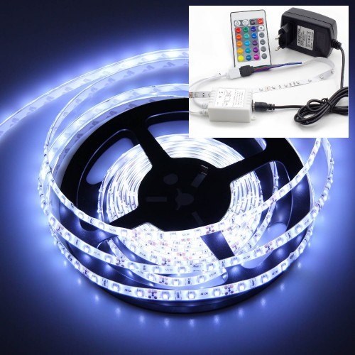Белая LED лента с контроллером White LED Strip SMD 3528 Remote - 5м (комплект)