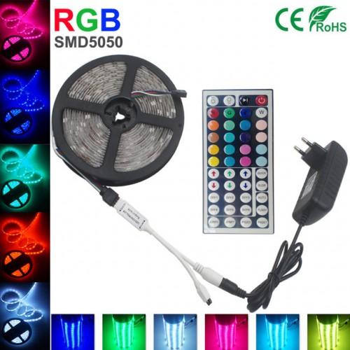 Разноцветная влагостойкая светодиодная лента RGB 5050 - 5м, полный набор