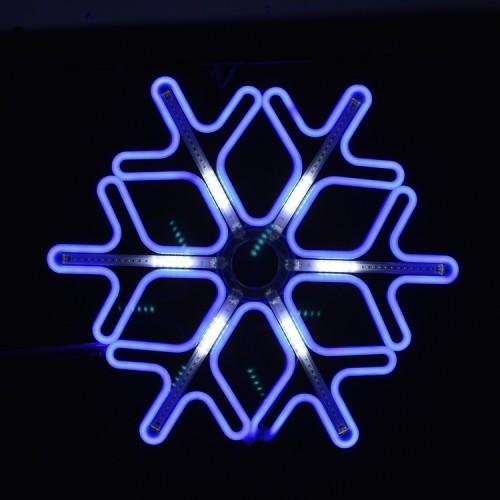 Новогодняя цветная Снежинка 40см Неоновая с бегущими светодиодными огнями
