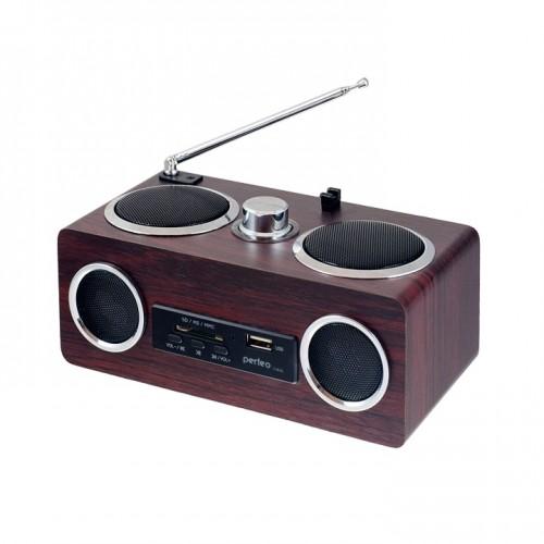 Радиоприемник Perfeo Тембр, FM, usb, SD, MP3 плеер, аудиовход AUX, вишнёвое дерево