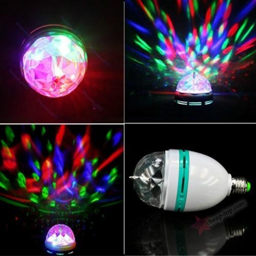 Светодиодная вращающаяся лампочка Dancing RGB LED Full Color Rotating Lamp