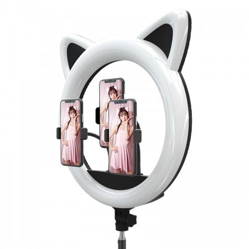 Цветная кольцевая лампа в форме головы кошки Cat Ring Light RK-45 (45 см), со штативом