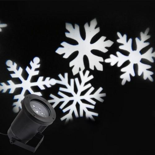 Декоративный влагостойкий новогодний LED проектор LED White Snowflake Projector