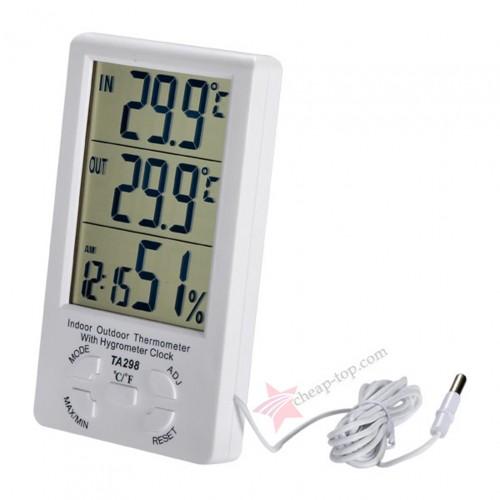 Универсальный термометр TA298 показывающий температуру на улице, в помещении, влажность и время