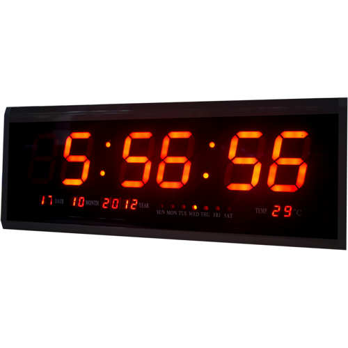 Электронные светодиодные настенные часы размером 48х19 см (ЧЧ, ММ, СС + календарь, термометр)