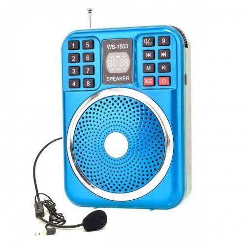 Функциональный поясной громкоговоритель с гарнитурой Wster WS-1503 (MP3, FM, AUX, REC, диктофон)
