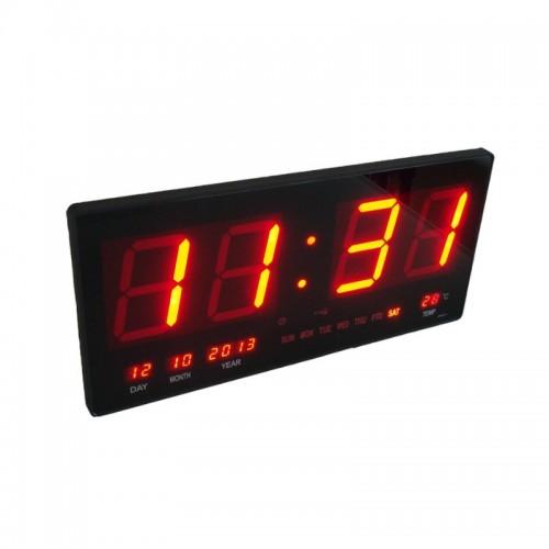 Электронные светодиодные настенные часы размером 46х22 см (ЧЧ, ММ + календарь, термометр)
